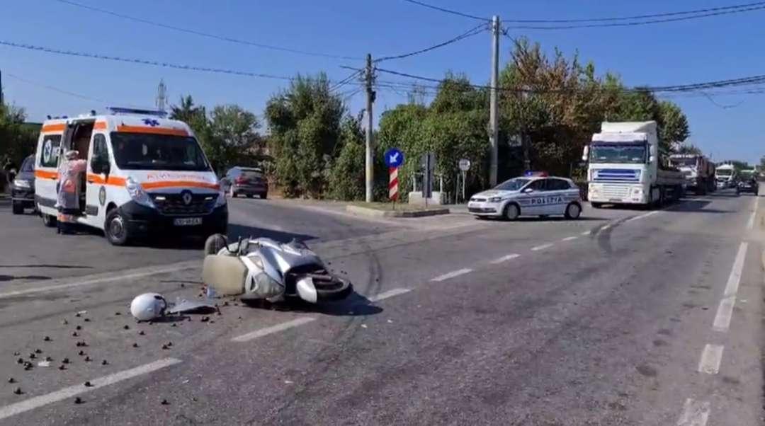 Accident pe Drumul Național 72! Un motociclist a fost rănit!