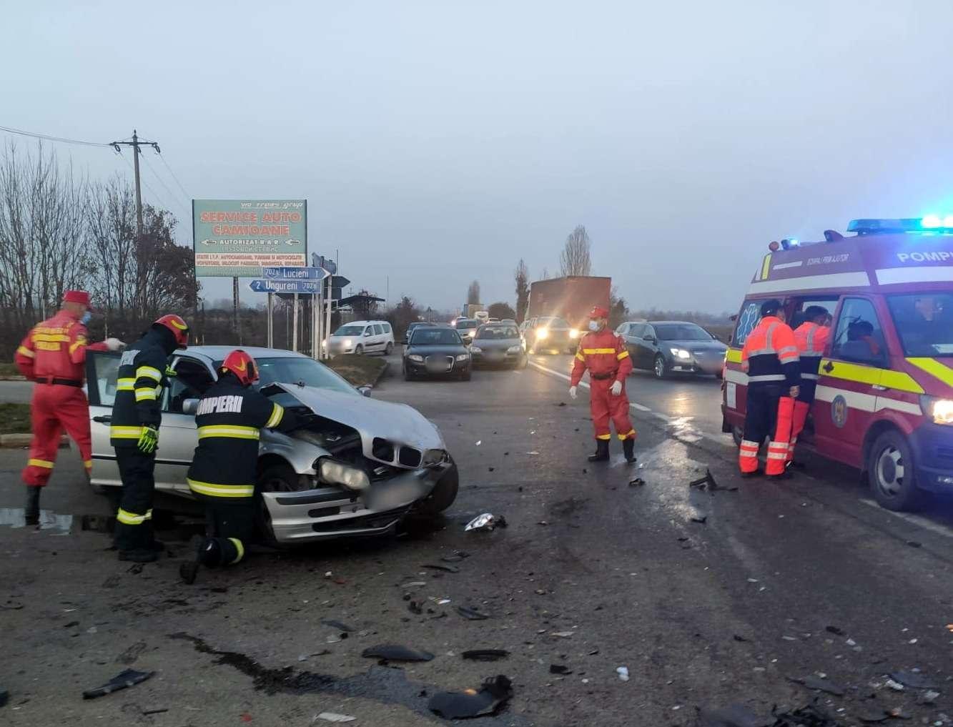 Accident în lanț pe Drumul Național 72! Mai multe persoane au fost rănite!