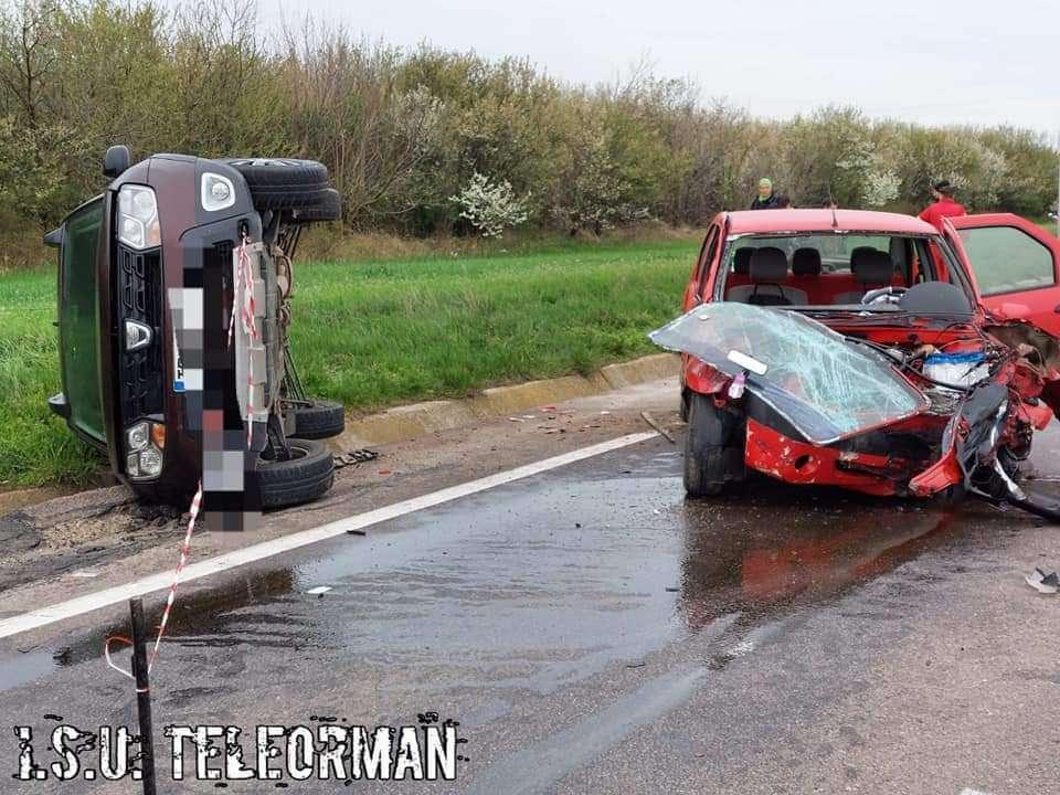 Accident în lanț pe Drumul European 70! O femeie gravidă se află printre victime!!