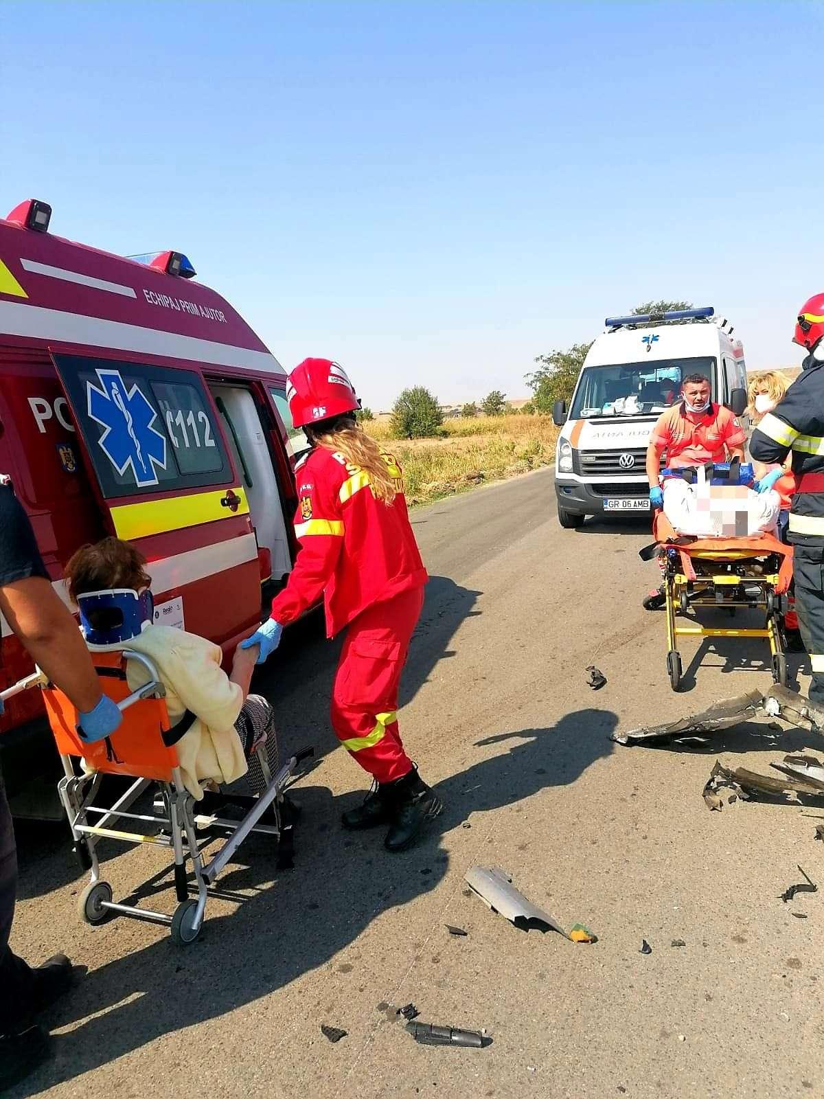 Accident violent la Giurgiu! Patru persoane au ajuns la spital!