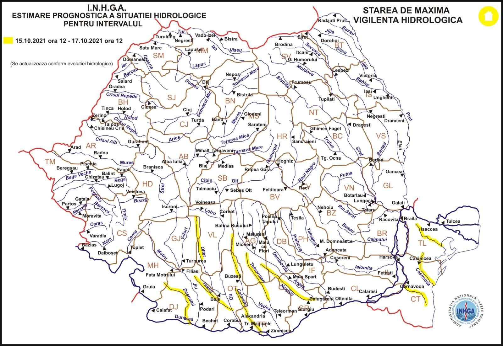 Institutul Național de Hidrologie și Gospodărire a Apelor a emis mesaj de atentionare hidrologică valabilă pentru județul Dâmbovița